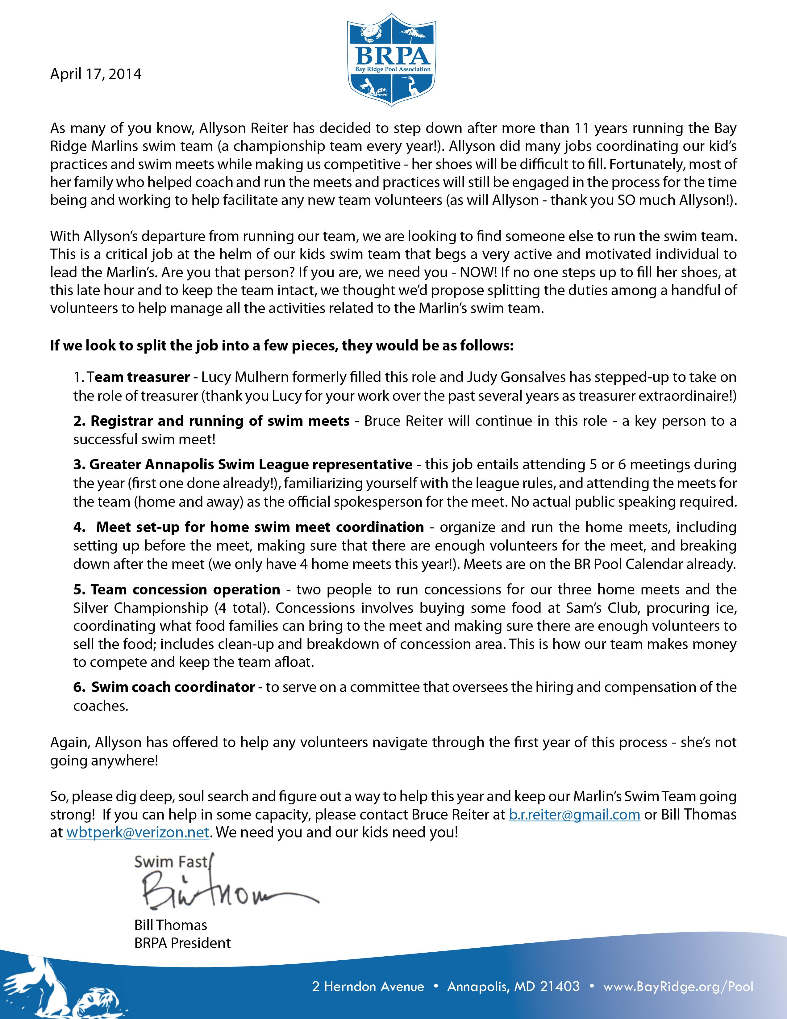 BRPA Coachs Letter